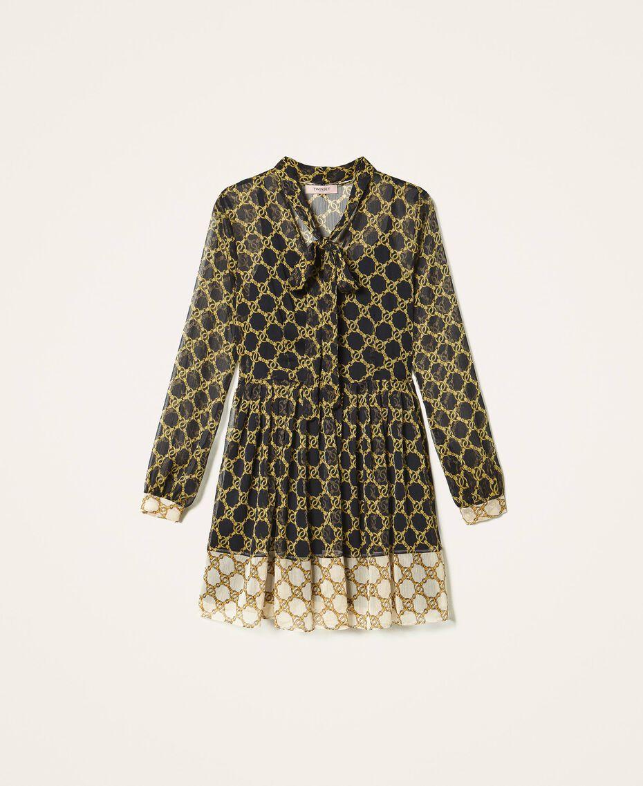 Creponne dress with chain print Black / Ivory Large Chain Print Woman 202TT221C-0S