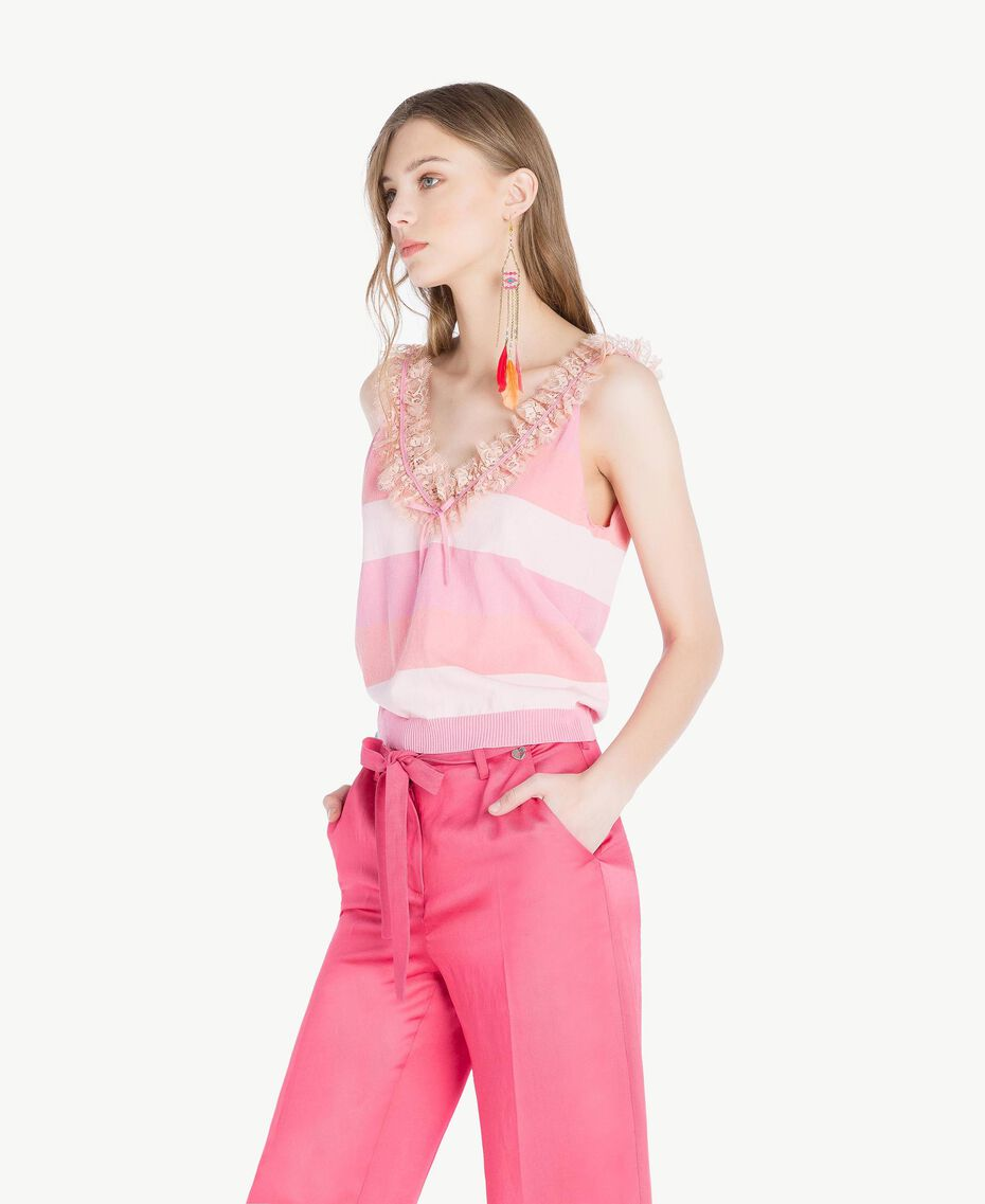 Top ruches Rayure Rose Femme TS83CC-02