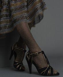 Sandales en cuir velours Noir Femme 192TCT01G-0S