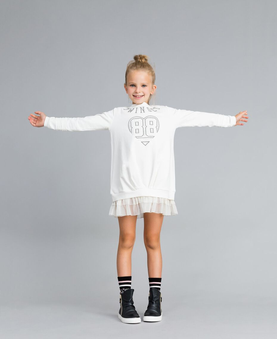 Maxi sweat en viscose avec perles et tulle Off White Enfant GA82U1-0S