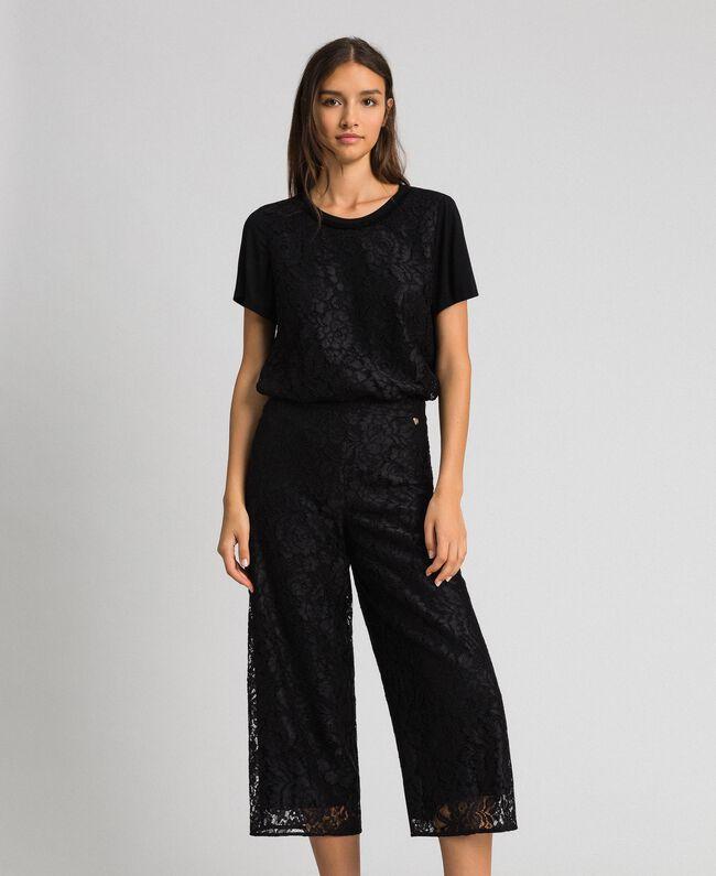 Pantalon cropped en dentelle macramé Noir Femme 192MP2491-01