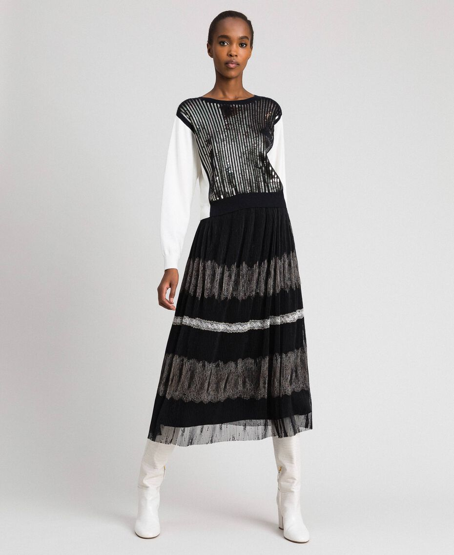 """Jumper with full sequin embroidery Bicolour """"Snow"""" White / Black Woman 192ST3070-01"""