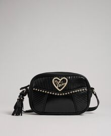 Faux leather shoulder bag with studs and tassel Black Woman 192MO8012-02