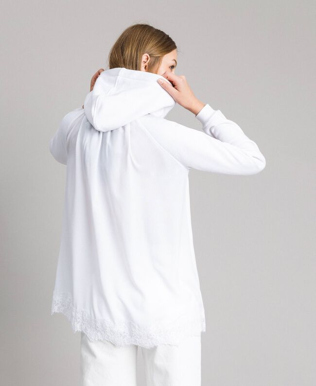 Sweat-shirt avec capuche et dentelle Crème White Femme 191MP2323-03