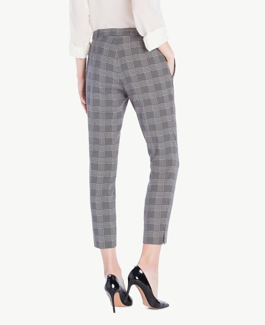 Check drainpipe trousers Jacquard Gingham Woman PS827P-03