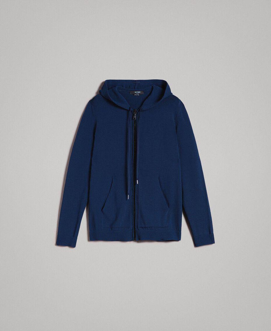 Gemischter Baumwoll-Strickpullover mit Kapuze Blackout Blau Mann 191UT3080-0S