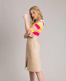 Technical cotton mid-length skirt Nougat Beige Woman 191TP2183-02