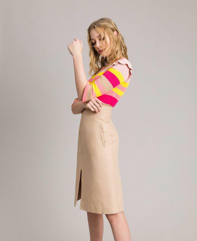 hot sale online 8851f dda9a Mittellanger Rock aus technischer Baumwolle Frau, Beige ...