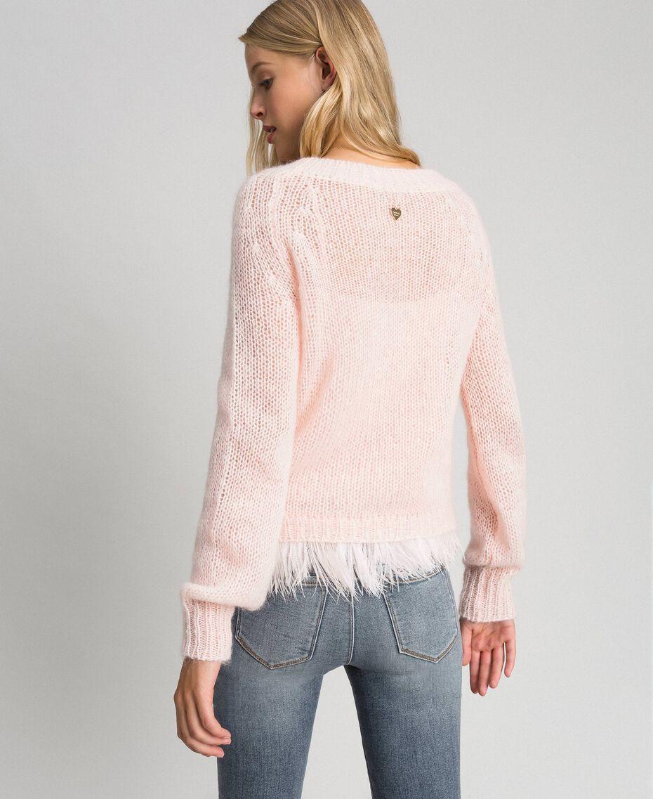 Pull en mohair et top avec plumes Rose «Opale» Femme 192TT3275-03