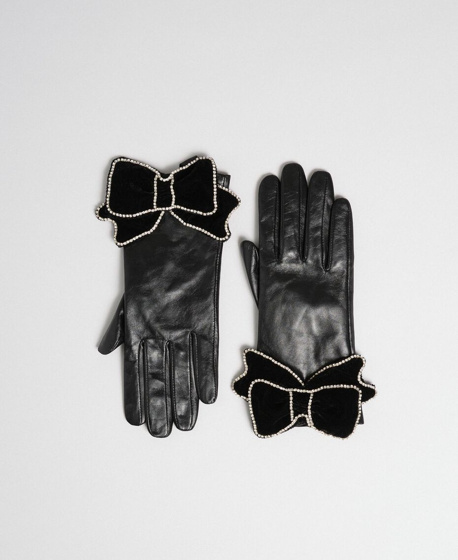 Leather gloves with velvet and stone bow Black Woman 192TA4343-02