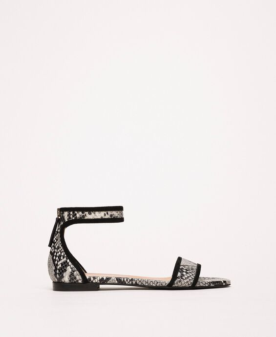Flat leather sandals with python print