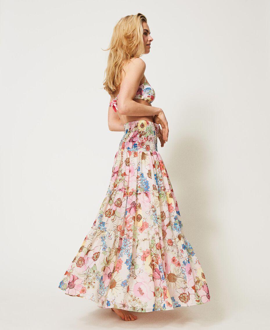 Robe-jupe avec imprimé floral Imprimé Fleur Grande Rose «Fuchsia Pink» Femme 211LM2JFF-02