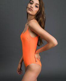 One-piece swimsuit 'Elettra x Twinset' Leopard Print / Fluorescent Orange Woman 191TQM022-04