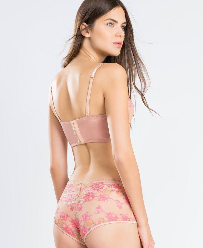 "Bustier aus zweifarbiger Spitze (C-Cup) Zweifarbig Royal Pink / ""Amber Dust""-Braun Frau IA8AZC-03"