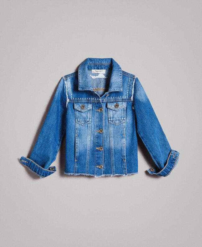 "Denim jacket with embroidery ""Mid Denim"" Blue Child 191GJ2480-01"