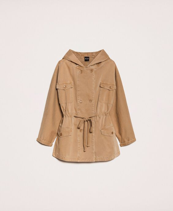 Parka coat with sequin inlays