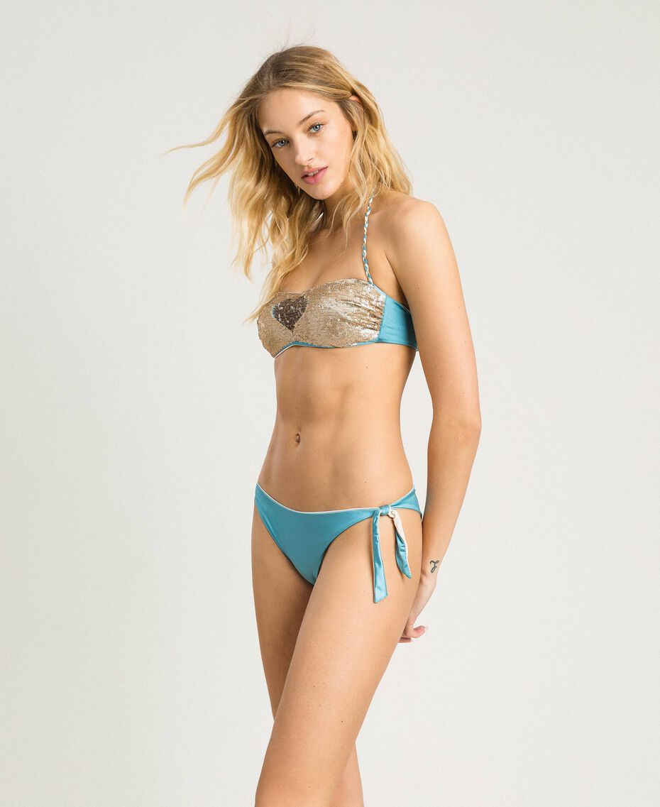 Bandeau bikini top with sequins Daylight Blue Woman 191LMMC11-02