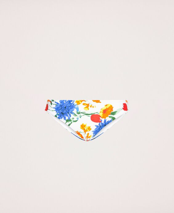 Floral bikini bottom with logo on back