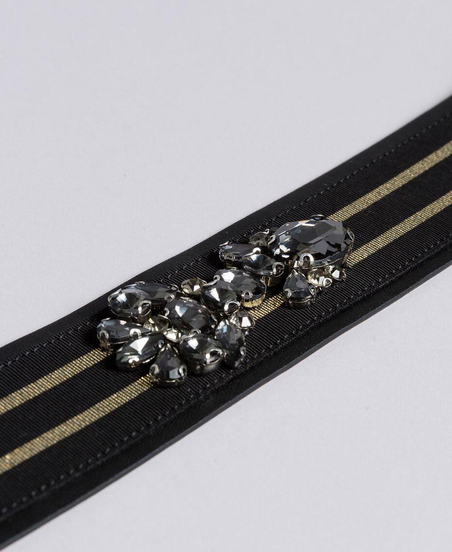 Gürtel aus Leder mit Stickerei Zweifarbig Schwarz / Gold Frau AA8P4B-02