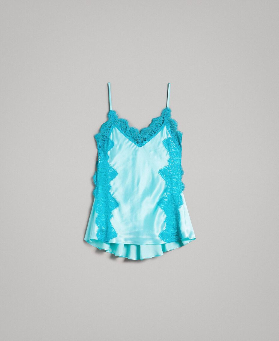 """Top en soie et satin mélangé agrémenté de dentelle Bicolore Bleu """"Turquoise Pastel"""" / Bleu Céramique Femme 191TT2092-0S"""