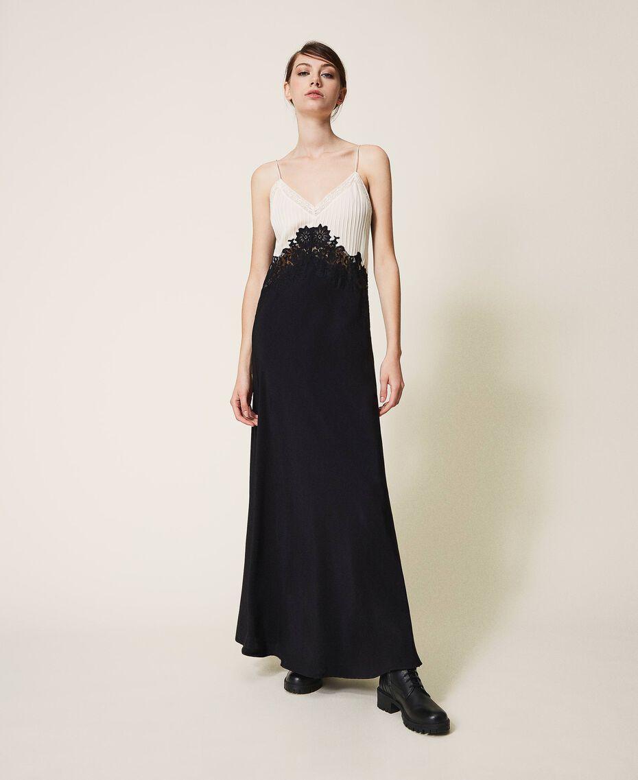 Long lace dress Two-tone Cream White / Black Woman 202TP2121-02