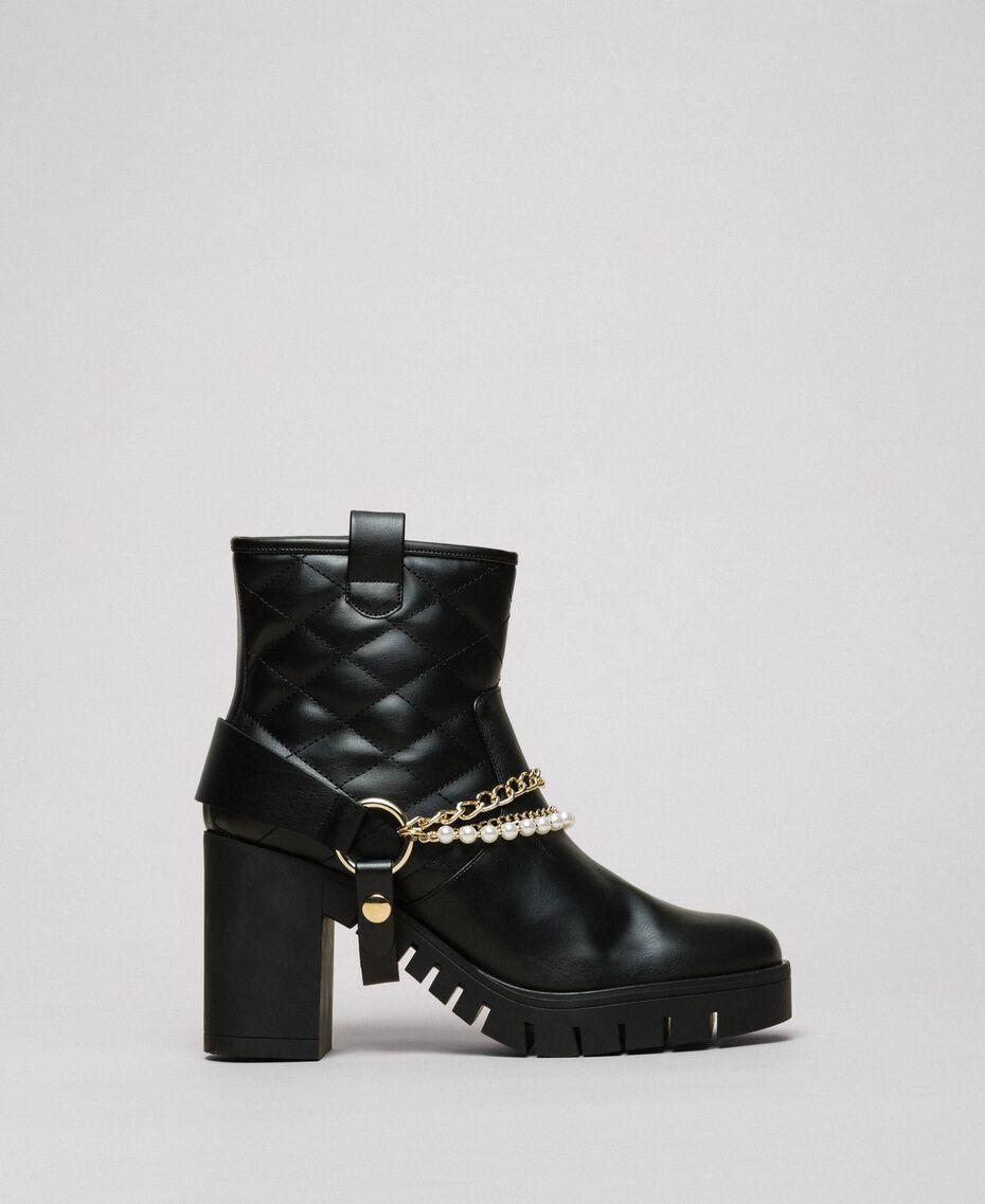 Байкерские ботинки с ремешками, цепочками и жемчугом Черный женщина 192MCP050-01