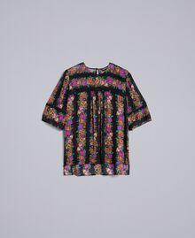 Floral print georgette blouse Flower and Black Stripe Print Woman TA82X4-0S