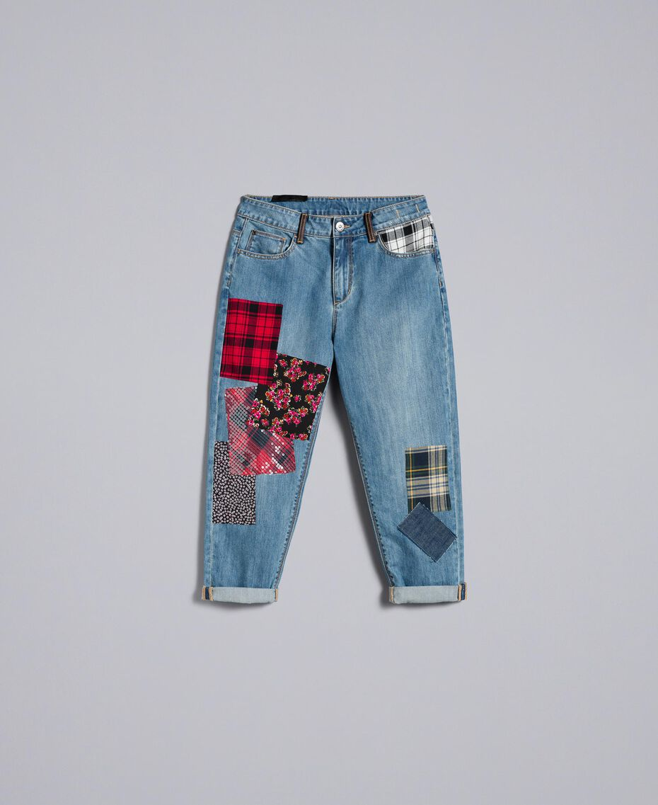 Jeans girlfriend in denim con toppe Denim Blue Donna YA82XA-0S
