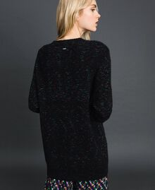 Mohair blend maxi jumper with brooch Black / Lurex Woman 192ST3040-04