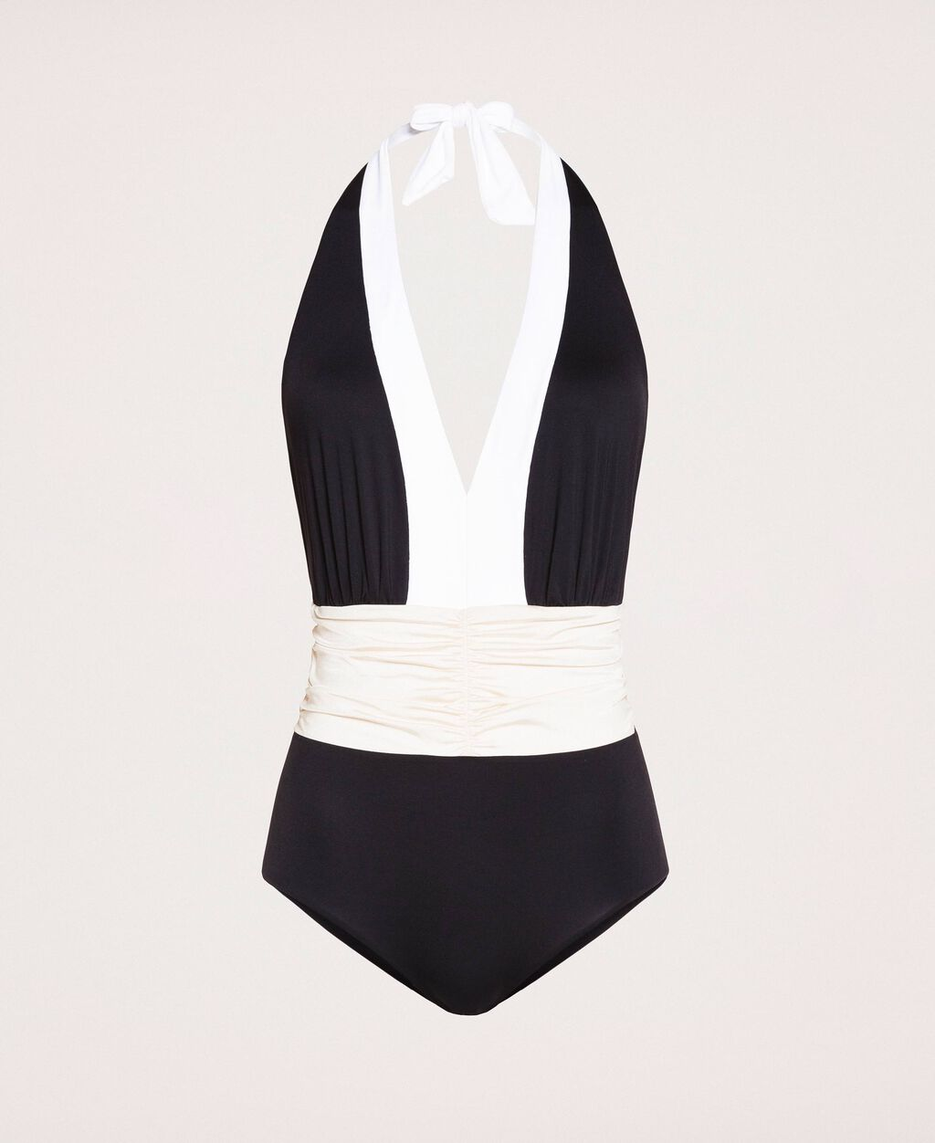 Colour block one-piece swimsuit with draping