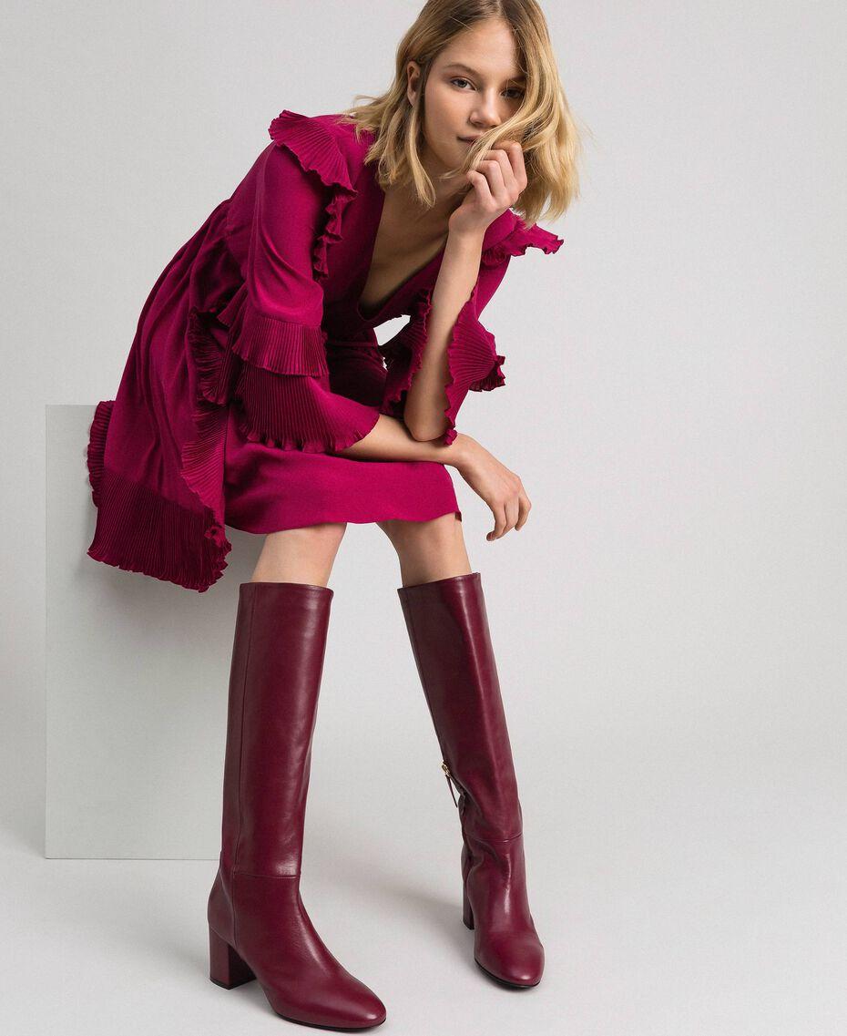 Bottes à talon en cuir Rouge Betterave Femme 192TCP100-0T