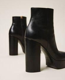 Bottines à plateforme en cuir Noir Femme 202TCP152-03