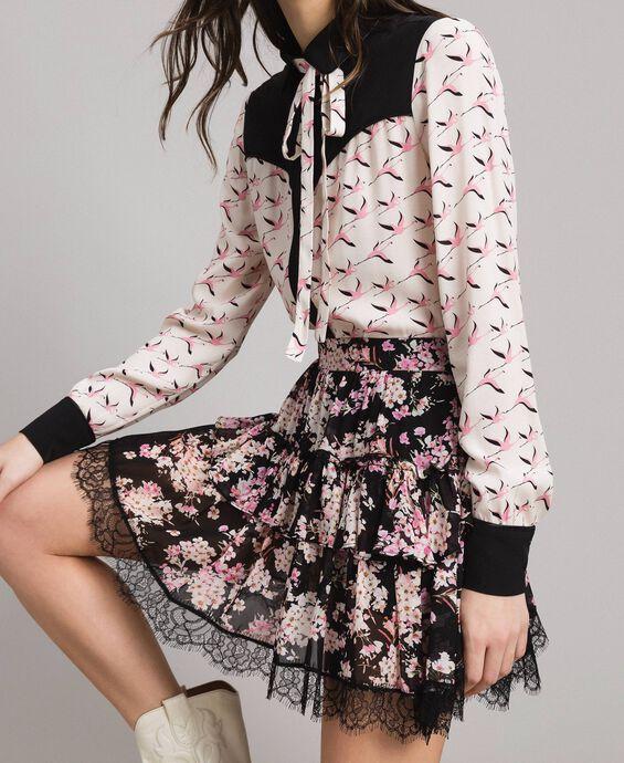 Floral print georgette flounce skirt