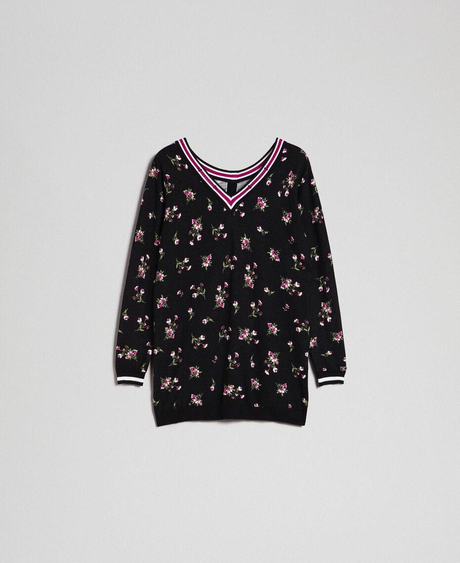 Maxi pull-cardigan floral avec strass Imprimé Petite Fleur Noir Femme 192LL3KSS-0S