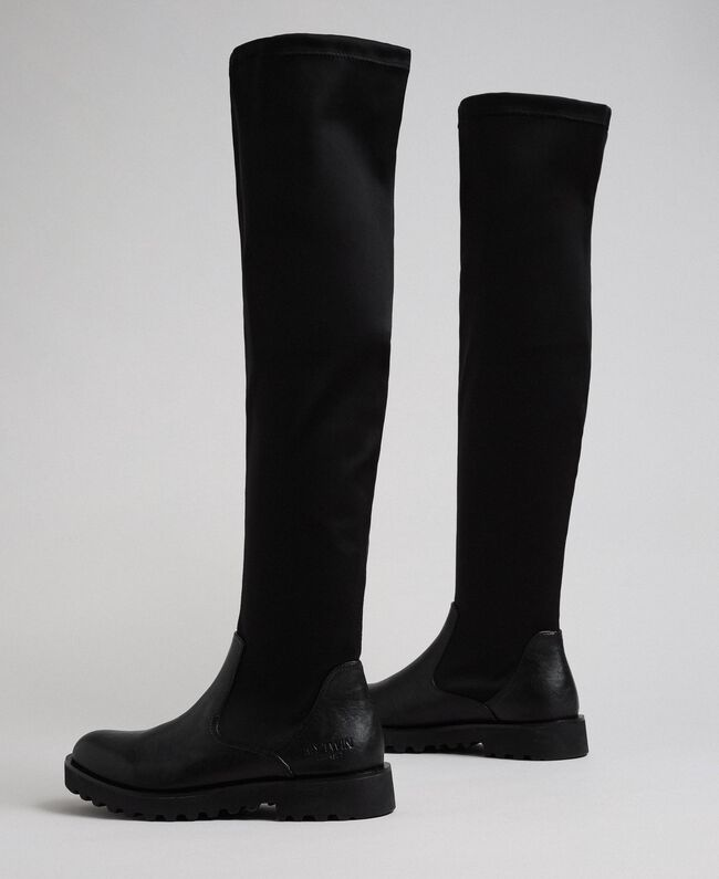 Thigh high boots in stretch fabric Black Woman 192MCT092-04