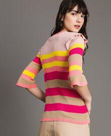 Gestreifter Pullover mit Rüschen Multicolour Regenbogen Frau 191TP3270-03