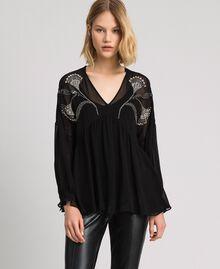 Blusa con ricamo floreale di strass e paillettes Nero Donna 192TP2162-03