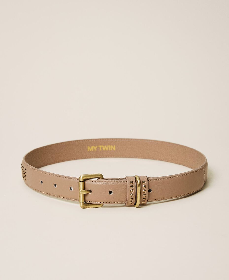 Faux leather belt with logo Camel Woman 202MA4354-03