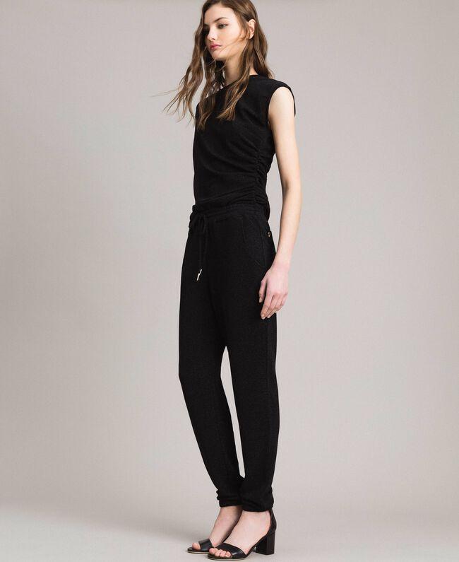 Jersey lurex jogging trousers Black Woman 191MP2026-03