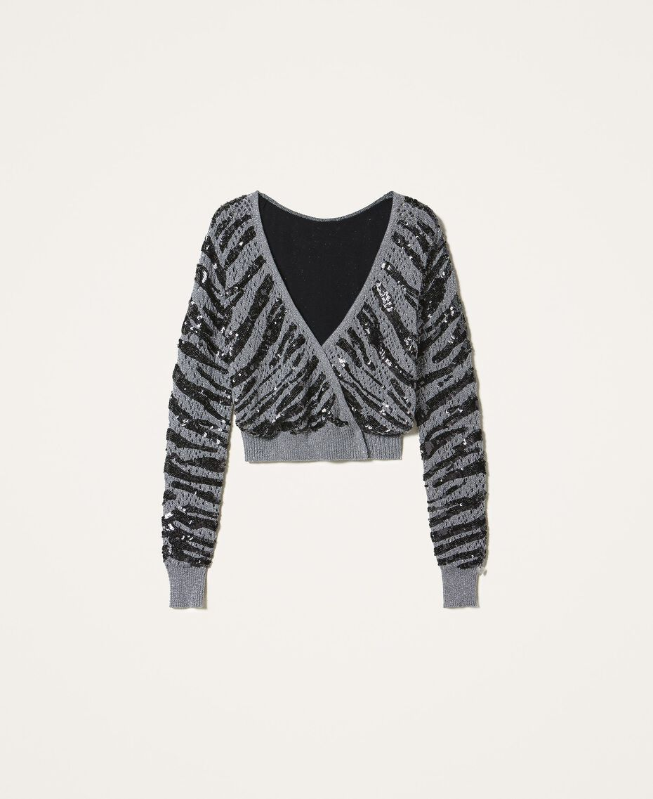 Cardigan-maglia con paillettes animalier Grigio Canna Fucile Donna 202TP3151-0S
