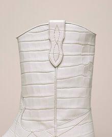 "Leather Texas boots with crocodile print ""Snow"" White Crocodile Print Woman 201TCP040-04"