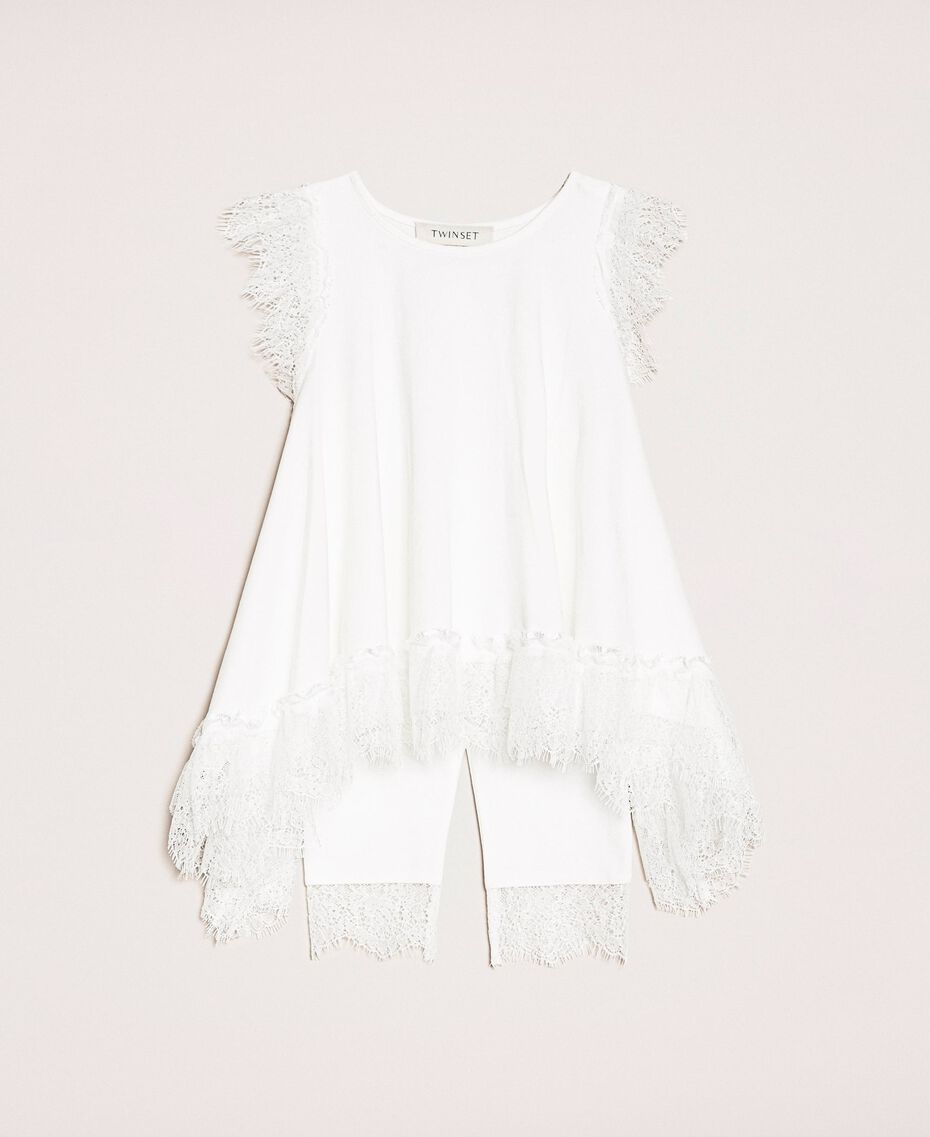 "Maxi tank top with ruffles and leggings ""Papers"" White Child 201GB231J-01"