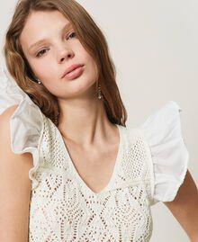 Top de punto crochet con flecos White Nieve Mujer 211TT3110-05