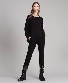 Pantalon en point de Milan et dentelle Noir Femme 191TP242H-02