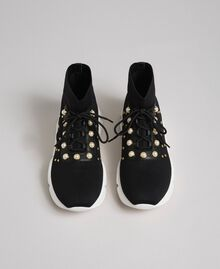 Knit running shoes with pearls and studs Black Woman 192TCP062-04