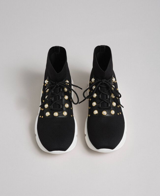 Scarpe running in maglia con perle e borchie Nero Donna 192TCP062-04