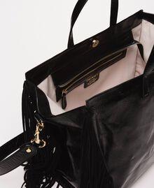 Grand cabas en cuir avec franges Beige Nougat Femme 201TO8140-04
