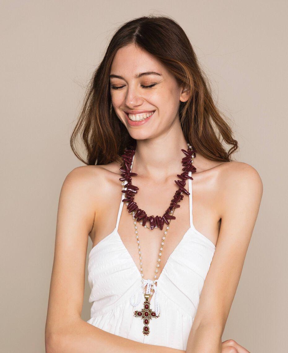 "Многорядное ожерелье-четки с жемчугом Красный ""Коралл"" женщина 201TO5309-0S"