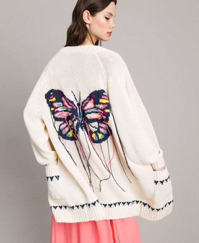 Hearts motif cotton maxi cardigan Pale Ecru Woman 191TP3111-04