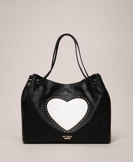 Hobo bag with studs and heart
